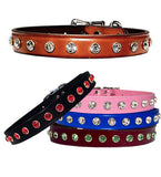 "Big Bling 7mm Swarovski Leather Buckle Collar 10""- 26"""