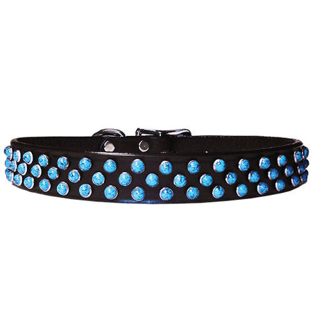 "TRIPLE TURQUOISE 3 rows Acrylic Turquoise 1"" Leather Buckle Collar 16""- 26"""