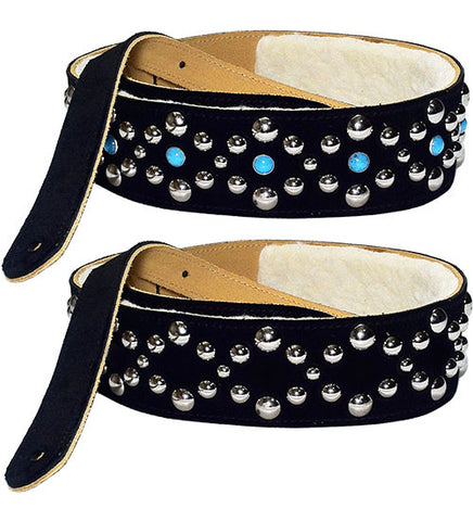 Poly Fleece Lined Leather or Suede GUITAR STRAP with Chrome Studs and Acrylic Turquoise
