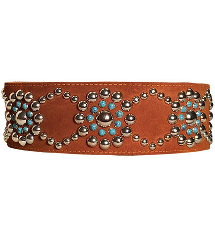 SILVER STUDS & TURQUOISE Poly Fleece Lined Leather GUITAR STRAP