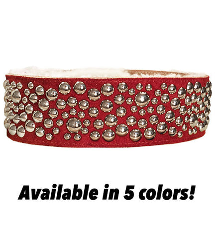 GROOVE WAVE Chrome Studded Poly Fleece Lined Leather GUITAR STRAP