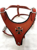 "CHOOSE-A-CONCHO Malibu Felt-Padded Leather Harness - SMALL - 17""-21"" chest, 7""-14"" neck"