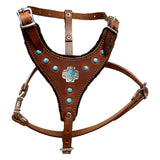 "Choose-A-Concho Leather Felt-Padded Harness with Studs - SMALL - 17""-21"" chest, 7""-14"" neck"