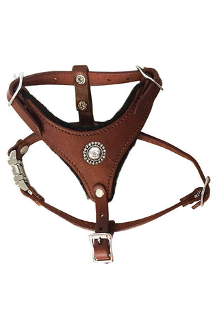 "XSMALL CHOOSE-A-CONCHO Malibu Felt-Padded Leather Harness - 12""- 15"" chest 6""- 9.5"" neck"