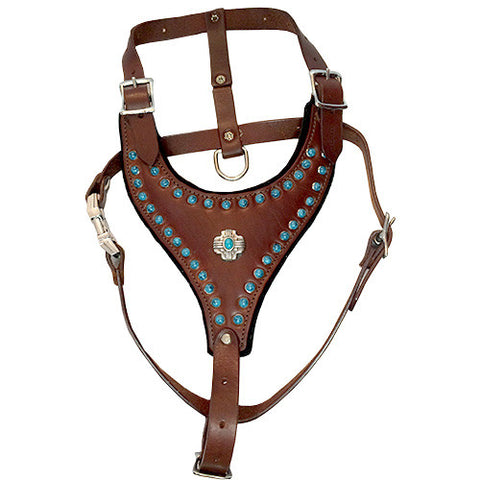 "Turquoise Studded Felt-Padded Leather Harness with Southwest Concho MEDIUM - chest  20"" - 27"" neck 10.5"" to 20.5"""
