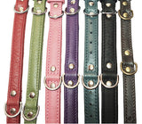 "Center D Ring SWAROVSKI BLING Leather Buckle Collar 10"" - 16"""