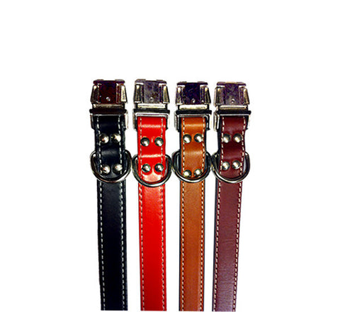 NO BLING Stitched Leather Clip Collars, by Auburn