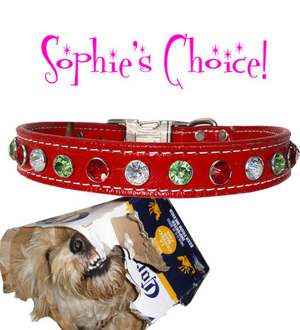 "Sophie's WICKED BIG BLING Stitched Leather Buckle Collar with Acrylic Crystals 17""-26"""