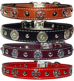 "CHOOSE-A-BEZEL 1"" Stitched Leather Clip Collar 17"" - 26"""