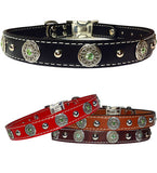"CELTIC BEZELS & Bling 1"" Stitched Leather Clip Collar 17""- 26"""