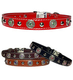 "FLORENTINE BEZELS & Bling 1"" Stitched Leather Clip Collar 17""- 26"""
