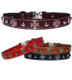 "IRON CROSS BEZELS & Bling Stitched Leather Clip Collar 17""- 26"""