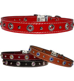 "ROPE BEZELS & Bling Stitched Leather Clip Collar 13""- 26"""