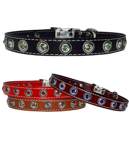 "ROPE BEZEL BONANZA Stitched Leather Clip Collar 13""- 26"""