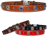 "SOUTHWESTERN BEZELS & Bling Stitched Leather Clip Collar 17""- 26"""