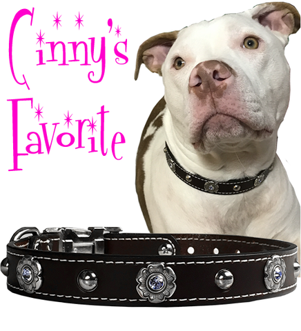 "Cinny's Favorite BEZELS & BLING 1"" Stitched Leather Clip Collar 17""- 26"""