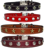 "CHOOSE-A-CONCHO Stitched Leather Clip Collar with Small Conchos 13"" - 26"""
