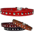 "MIXED SIZE STUDS Stitched Leather Clip Collar 13""- 26"""