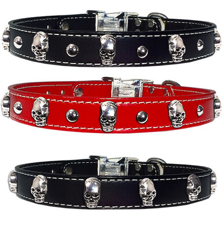 "SKULLS 'N STUDS Stitched Leather Clip Collar 17""- 26"""