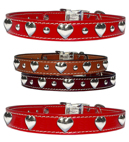 "HEARTS 'N STUDS Stitched Leather Clip Collar 17""- 26"""