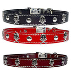 "JOLLY ROGER STUDS Stitched Leather Clip Collar 17""- 26"""