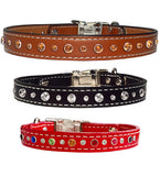 "MIXED SIZE SWAROVSKI Stitched Leather Clip Collar 13""- 26"""