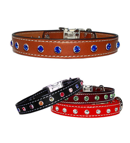 "BIG BLING 7mm Swarovski 1"" Stitched Leather Clip Collar 16""- 26"""