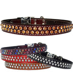 "DOUBLE SWAROVSKI Stitched Leather Clip Collar 13""- 26"""