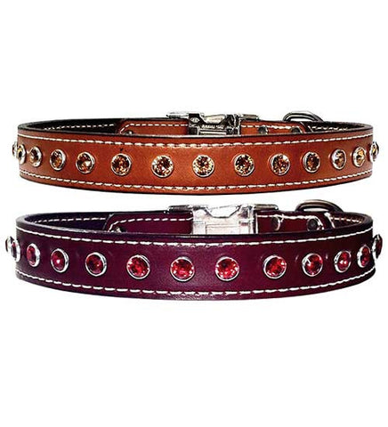 "REALLY BIG BLING 8mm Swarovski Stitched Leather Clip Collar 13""- 26"""