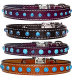 "SIMPLY TURQUOISE Stitched Leather Clip Collar 13""- 26"""