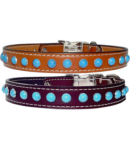 "WICKED BIG TURQUOISE Stitched Leather Clip Collar 13""- 26"""
