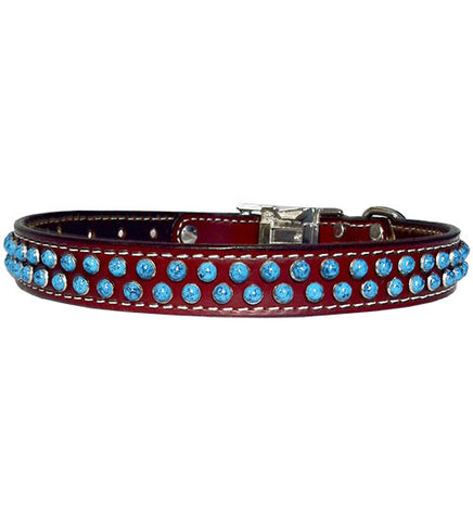 "TO ROSE TURQUOISE Acrylic Turquoise Stitched Leather Clip Collar 17""- 26"""