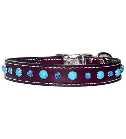"MIXED SIZE TURQUOISE Stitched Leather Clip Collar 13""- 26"""