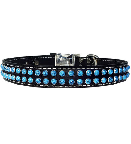 "LA DOBLE TURQUOISE Stitched Leather Clip Collar 17""- 26"""