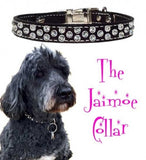 "Jaimoe's LOTSA SWAROVSKI Leather Clip Collar - 17"" to 26"""