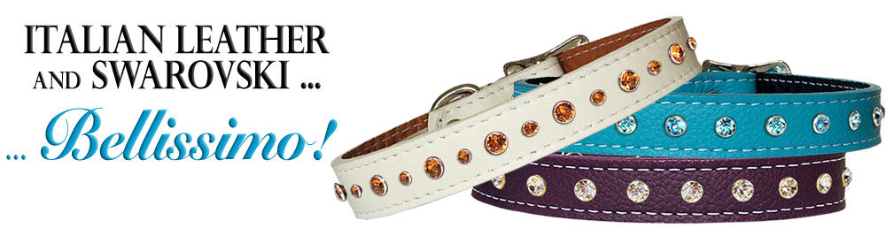 Beautiful Soft Italian Leather Collars with Swarovski!