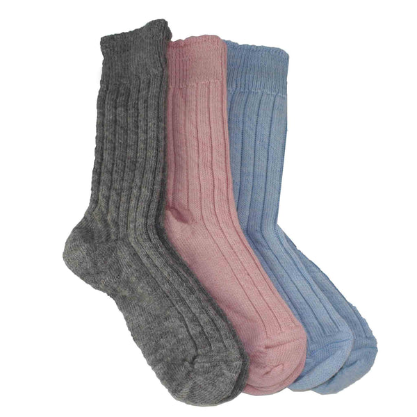 3 Soft Bed Socks in Grey, Pink and Blue