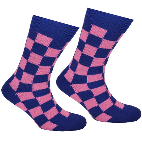Cotton Checked Socks Blue and Pink