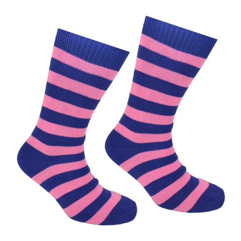 Cotton Striped Socks Dark Blue and Pink