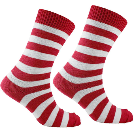 Men's Cotton Striped Socks Red and White