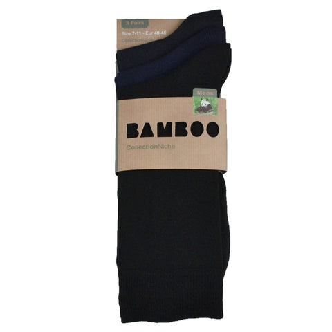 Men's 100% Bamboo Socks Plain Black and Navy