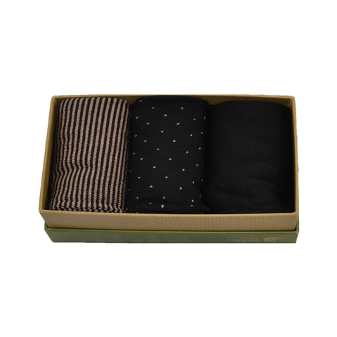 Men's 100% Bamboo Gift Box Brown and Black Socks