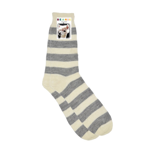 Women's Alpaca Hoop Stripe Socks White and Grey