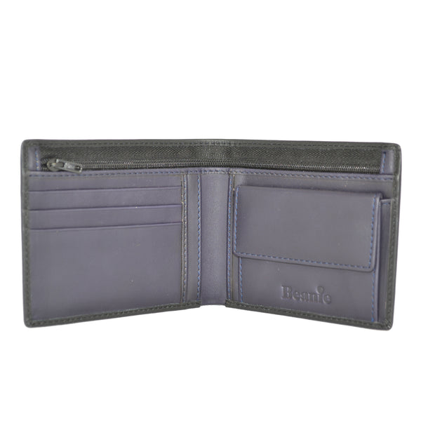 100% Leather Wallet with Coin Purse Black and Purple
