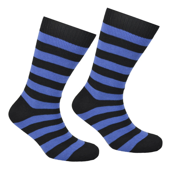 Cotton Striped Socks Black and Blue