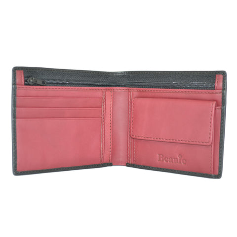100% Leather Wallet with Coin Purse Black/Red