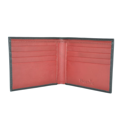 100% Leather Wallet Black and Red