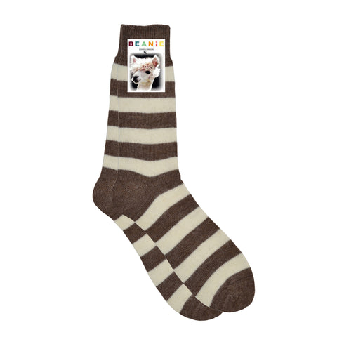 Women's Alpaca Hoop Stripe Socks Brown and White