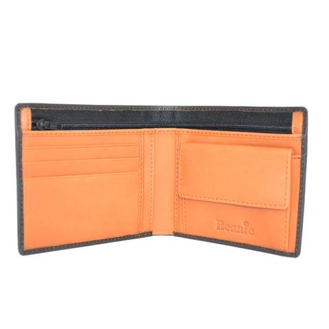 100% Leather Wallet with Coin Purse Brown and Orange