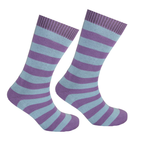 Cotton Striped Socks Lilac and Light Blue